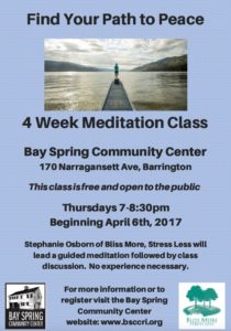 Find Your Path to Peace: Guided Meditation @ Bay Spring Community Center | Barrington | Rhode Island | United States
