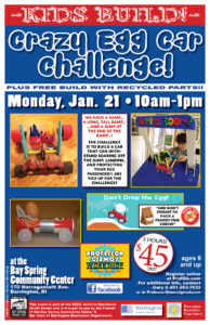 Artist in Residence: Crazy Egg Car Challenge with Professor Gizmo @ Bay Spring Community Center