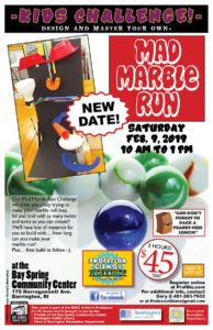 Artist in Residence: Mad Marble Challenge with Professor Gizmo @ Bay Spring Community Center