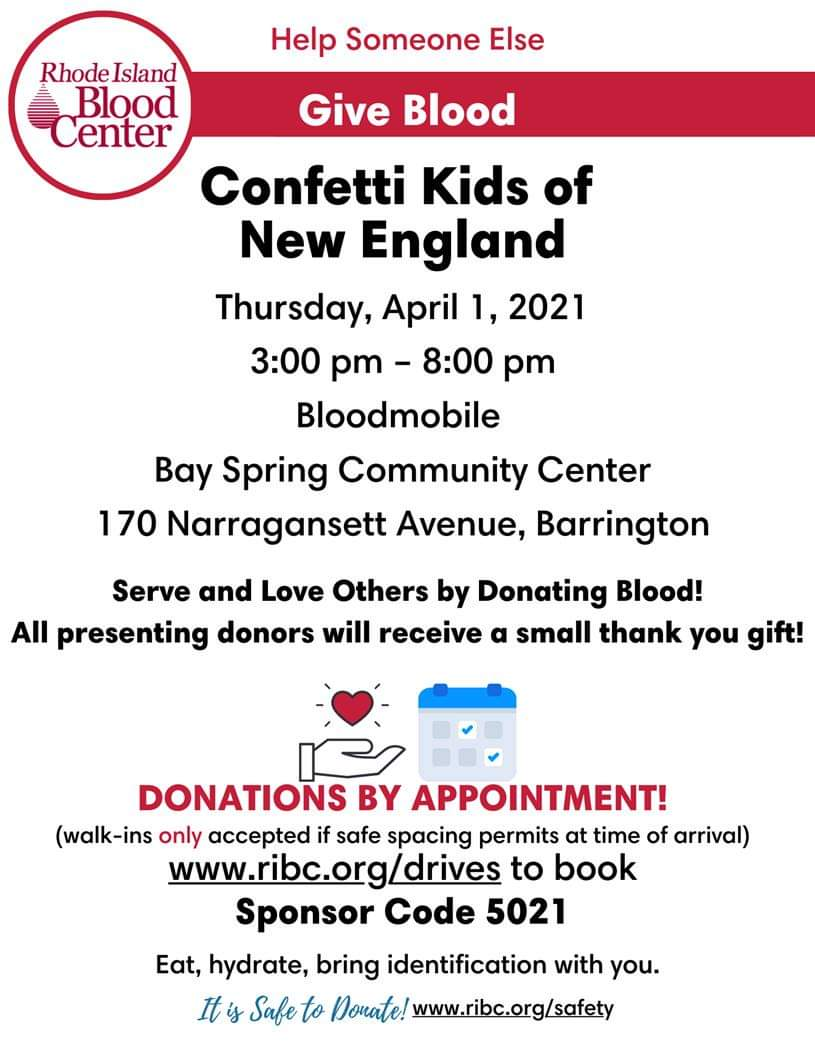 Confetti Kids of New England Will Host Blood Drive at BSCC on April 1 > How to sign up @ Bay Spring Community Center